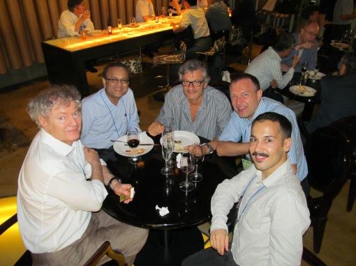 Michael Grätzel,             Subodh Mhaisalkar, Juan Bisquert, Udo Bach, Pablo P. Boix at             Bar 153 in Seoul. Picture by Seigo Ito.