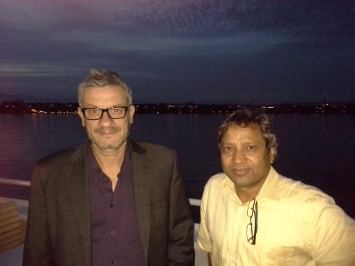 JB and M. K. Nazeerudin in boat dinner in Lausanne