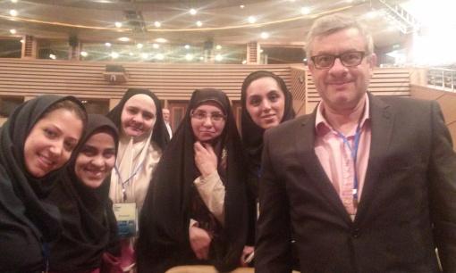 Several lady scientists and JB at Asian Nano Forum Congress 2015, Kish Island, Iran
