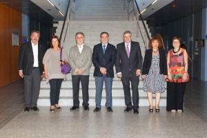 Miquel Pericàs (ICIQ), Marta Vallés (UCM), Robert Roig (Generalitat Valenciana) Vicent Climent (rector UJI), Juan Bisquert (director INAM), Laura Lechuga (ICN2), Concepció Rovira (ICMAB)